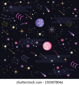 Space Galaxy pattern print could be used for textile, phone case - Vektör