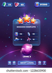 Space game design. Receiving the cartoon achievement game screen. Vector illustration with golden stars. Graphical user interface GUI to build 2D games.