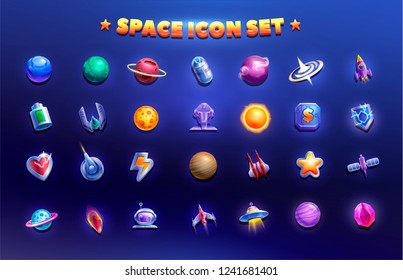Space game icon. Set of icons to create a game. Space objects with planets and various elements.
