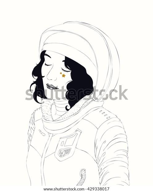 Space Girl Stars Female Astronaut Pensive Stock Vector Royalty