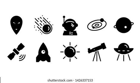 Space glyph icon symbol set