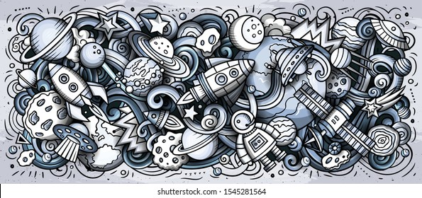 Space hand drawn cartoon doodles illustration. Cosmic funny objects and elements design. Creative art background. Monochrome vector banner