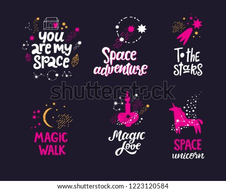 Space Hand Drawn Lettering Quotes Set Stock Vector Royalty Free