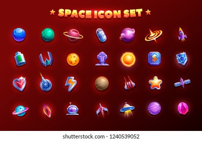 Space icon set. 2d game icon. Set of spaceships with planets and objects for building  game.