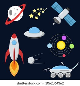 Space icon set in flat style. Set include rocket, ufo, satellites, stars, planet with ring, planetary system and lunar rover.