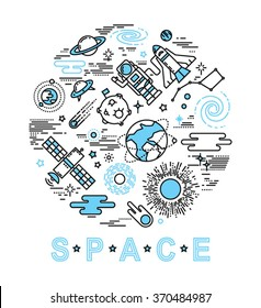Space icon set in linear style. Vector illustration.