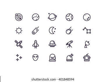 space icon set vector.