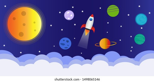 Space icons in cartoon style. Spaceship, stars, planets, blue background and clouds. Funny astronomical concept for child. can be used as a background pattern.