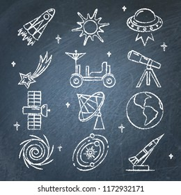 Space icons collection on chalkboard. Spaceship, telescope, UFO, planet, rocket and other symbols