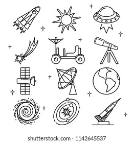 Space icons collection in thin line style. Spaceship, sun, UFO, planet, rocket and other symbols.