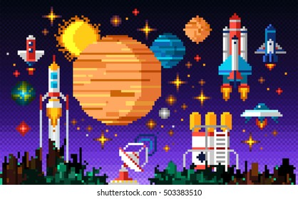 Space icons composition in pixel art style