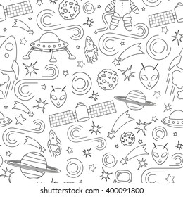 Space icons, infographics elements, seamless pattern. Modern line design. Vector.