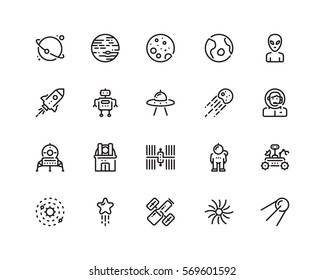 Space icons, outline style