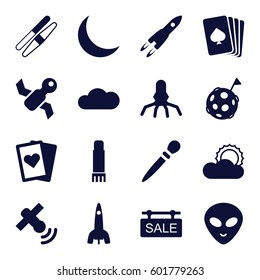 space icons set. Set of 16 space filled icons such as nail sawing, sawing, pllaying card, alien head, sun, glue pen, crescent, cloud, sale tag, satellite, rocket, flag on moon