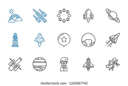 space icons set. Collection of space with startup, scientist, jupiter, hubble space telescope, space shuttle, pluto, star, astronaut, saturn. Editable and scalable icons.