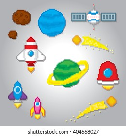 Space icons set. Pixel icons. Pixel art. Old school computer graphic style. Computer game elements. Space pixels.