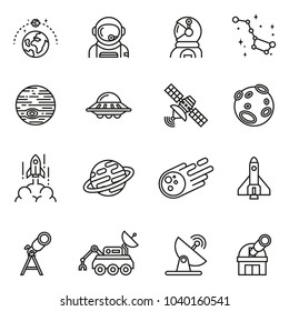 Space icons set with white background. Thin Line Style stock vector.