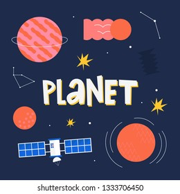 Space illustrations hand drawn vector set: Rocket, planets, UFO, satellite, stars, etc