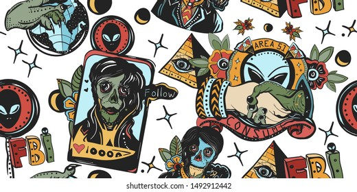 Space invaders seamless pattern. Reptilian humanoids, anunnaki, all seeing eye pyramid. Storm area 51 concept. Conspiracy aliens. Retro sci-fi. Obey and consume. Traditional tattooing art