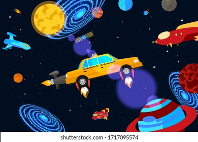 Space jet taxi service, vector illustration. Checkered car carries passengers around planets, constellations and galaxies banner. Nearby satellite, spaceships, asteroids and cartoon rockets.
