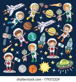 Space Kindergarten, school Astronomy lesson Children, doodle kids illustration Ufo, alien, Moon surface, Earth, Jupiter, Saturn, Mars Vector icons