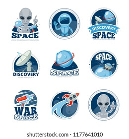 Space labels collection. Badges spaceship rocket astronaut with UFO ship alien characters satelite stars Futuristic flat vector logo design