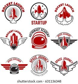 Space labels. Rocket launch, astronaut academy. Design elements for logo, label, emblem, sign. Vector illustration.