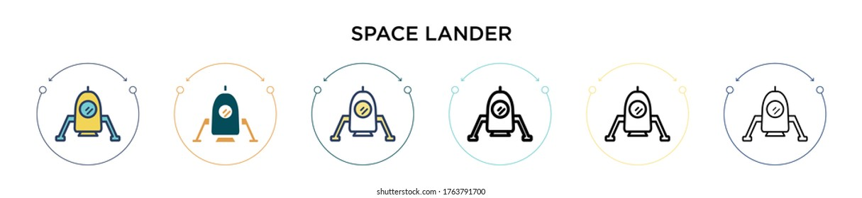 Space lander icon in filled, thin line, outline and stroke style. Vector illustration of two colored and black space lander vector icons designs can be used for mobile, ui, web