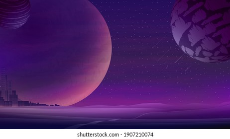 Space landscape with large planets on purple starry sky and City on horizon, nature on another planet. Vector illustration.