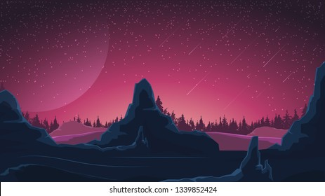 Space landscape in purple tones, nature on another planet. Vector illustration.