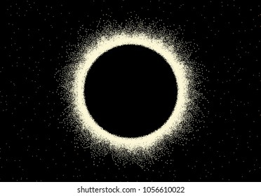 Space landscape with scenic view on solar eclipse made with retro styled dotwork