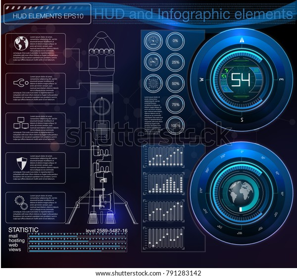 Space Launch Interface Rockets Graphic Display Stock Vector