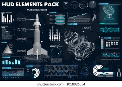 Space launch rockets, instrument panel, grafics, radars, space dish, sensors, 3d spaceship, in the HUD style, Elements pack of the User Futuristic Interface. Template UI for app and virtual reality.