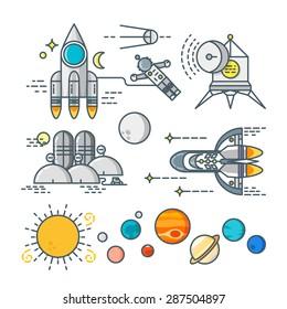 Space line art icon set. Cosmos logo. Cosmos set. Cosmos line icons. Rocket line icon. Planet line icon. Spaceship line icon. Sun line logo. Earth line logo. Astronaut logo. Cosmos vector set.