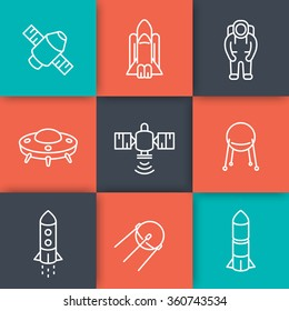 space line icons, satellite, space shuttle, spaceship, rocket, spacesuit, astronaut, vector illustration