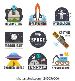Space logo set. Observatory, tourism, galaxy, moon, satellite, alien, astronaut. Vector flat logos and icon set