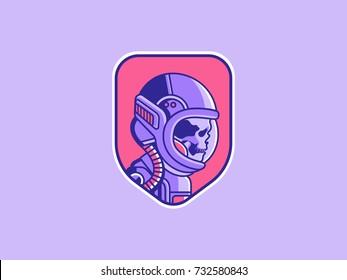 Space logo. Vintage astronaut skull badge. Spaceman vector illustration