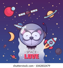 Space love. Card with vector animal character.