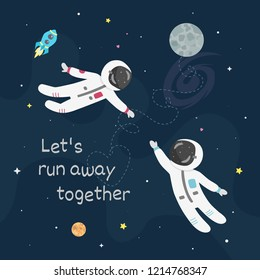 Space love vector illustration. Boy astronaut and girl astro naut fly to each other.