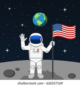 Space man on the moon. Vector. Flat design.