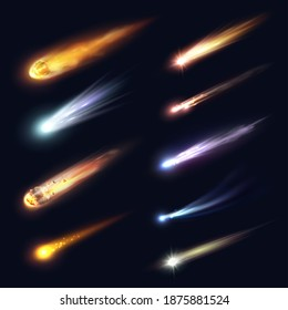 Space meteors, comets and asteroids with fire trails realistic vector design. 3d meteorite fireball and star space objects falling down with glowing gas and dust tails, galaxy and astronomy science