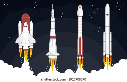 Space Mission concept. Science fiction background. Collection of rockets launched into space. Set of isolated cartoon vector illustrations