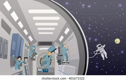 Space mission concept vector illustration. Astronauts in space station and outer space. cosmonauts flying in no gravity space.