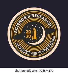 Space mission vintage isolated label. Scientific odyssey symbol, modern spacecraft flying, planet colonization vector illustration.