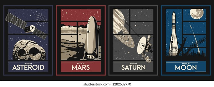 Space Missions Set of Space Posters. Asteroid, Moon, Saturn, Mars