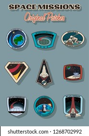 Space Missions Vector Patches, Badges, Logos, Icons Set