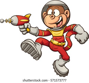 Space monkey with a retro ray gun. Vector clip art illustration with simple gradients. All in a single layer.