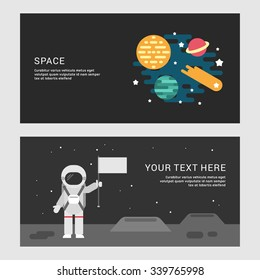 Space and Moon Landing Concept. Set of Flat Style Vector Conceptual Illustrations for Web Banners or Promotional Materials