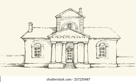 Space Museum, former House Poltava fire brigade, Ukraine. Stone edifice with attic and pillars. Freehand ink drawn backdrop sketchy in art scrawl antiquity style pen on paper and space for text on sky