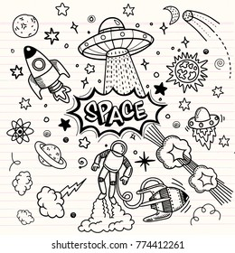 Space night sky texture ,Space objects. Vector flat space design background with text. Cute template with Astronaut, Spaceship.Hipster typographic doodle lettering and elements